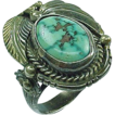 Native American Royston Turquoise Gents Ring Zuni Signed
