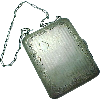 Webster Sterling Silver Coin Purse Engraved Art Deco Wristlet