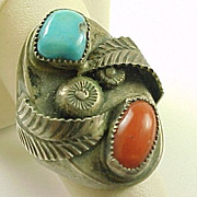 J. Toadlena  Hand Crafted Ring Sterling silver Turquoise & Coral