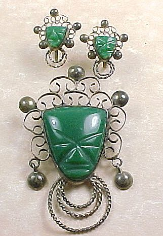 Estate Vintage Mexico Carved Tribal Mask Chrysoprase Large Brooch And Matching Screw On Earrings