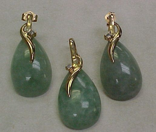Vintage 14K Gold Jade SET Pendant & Earrings Diamond Accent