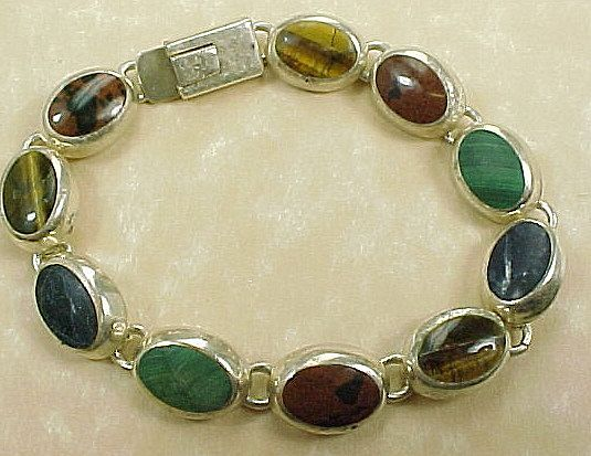 Vintage Bracelet, Mexico Sterling Silver Multiple Gemstone Link