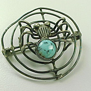 Vintage Sterling Silver Brooch, Spider And Web, Turquoise  Accent