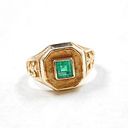 Vintage Pre Columbian Mayan Warrior Tribal Ring With .47 Carat Columbian Emerald