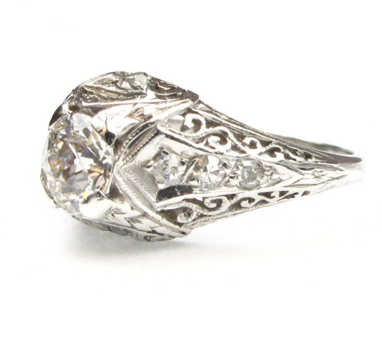 Platinum Art Deco Diamond Engagement Ring 0 75 Carats Intricate from arnoldj