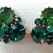 BIG Vintage 1940's WEISS Colorful Green Rhinestone Clip On Earrings, Gold Toned
