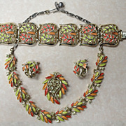 BIG Vintage 1950's LISNER Summer Colors Rhinestone & Enameled Four Piece Set, Gold Tone