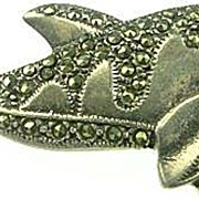 Sterling Silver & Marcasite Dolphin Brooch / Pin Nautical