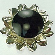 MEXICO Sterling Silver & Onyx SUN FLOWER Pin / Brooch