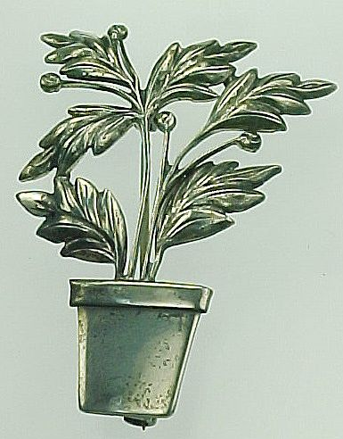 Botanical Sterling Silver POTTED PLANT Pin / Brooch
