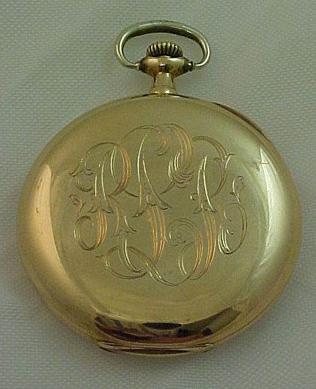 antique waltham pocket 14k gold engraved textured