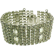 Vintage Weiss Wide Bracelet WOW 7 Rows of Rhinestones!