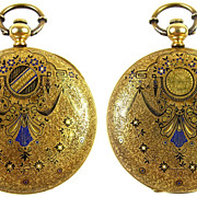 SALE Sophisticated Enameled 18k Gold Pocket Watch