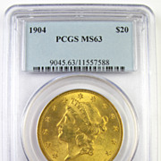 1904 $20 Gold Double Eagle PCGS MS63