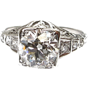 Deco Diamond  Ring 1.70 Carat Old European Platinum Engagement