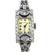 Art Deco 18k White Gold Diamond & Sapphire Ladies Watch