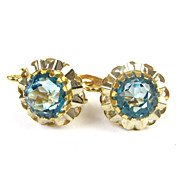 Vintage 18k Gold & Blue Spinel Drop Earrings