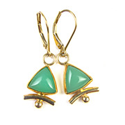 Hand Crafted Dangle Earrings 18k & 14k Gold Chrysoprase Accent
