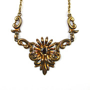 Baroque Style Necklace Sterling Silver & 14k Gold