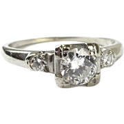 Vintage Diamond Engagement Ring .54ctw 18k White Gold
