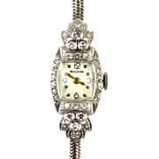 Art Deco 14k White Gold & Diamond Ladies Bulova Watch