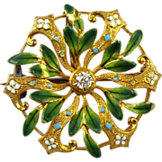 Edwardian Watch Pin / Brooch 14k Gold & Diamond Guilloche Enameling