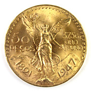 1947 Mexico 50 Pesos Pure Gold