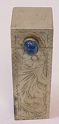 Vintage Sterling Silver  Lip Stick Case with Lapis Accent and Floral Chase Work