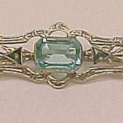 Beautiful Art Deco 10k White Gold Bar Pin with Blue Topaz