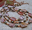 Autumn Dew: 2-in-1 Fire Crackle & Rosetta Lace Agate, Olive & Peach Cultured Pearl & Copper Necklace