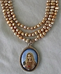 Elegant 3 Strand Biwa Pearl Necklace - Madonna Pendant