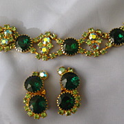 Chunky Bold Green Rhinestone Bracelet and Earrings