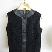 ESTATE Black Leather & Persian Lamb Vest