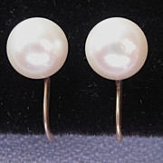 ESTATE Cultured Pearl & 14K Earrings -8.3mm-