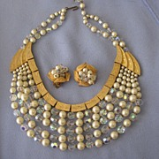 Signed KRAMER Faux Pearl AB Crystal Egyptian Style Collar/Earrings
