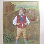 English 19th C- Young Boy/Chickens - Hand Colored Engraving - Joseph H. Wilson