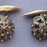 Sterling Etruscan Domed Cuff Links