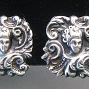 Sterling Figural Repousse Art Nouveau Earrings