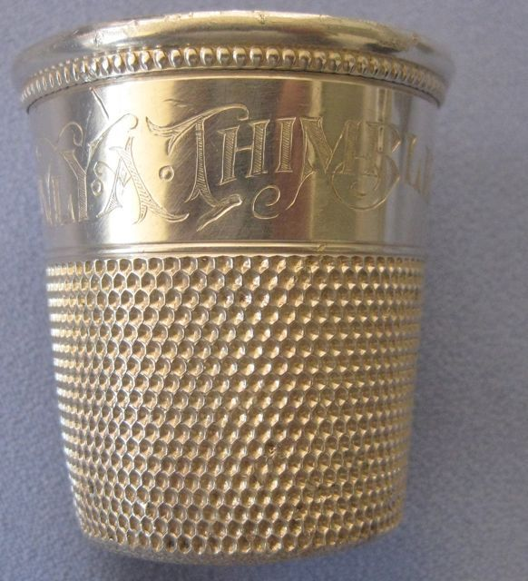 Sterling Engraved Shot Glass/Thimble - &quot;Only A Thimble Full&quot;