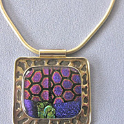 Large Modernist Sterling Dichroic Glass Pendant on Snake Chain - Signed
