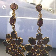 SALE Long Antique Bohemian Garnet Dangling Earrings
