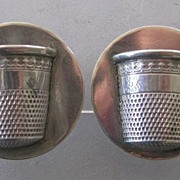 Pair of Sterling THIMBLE Earrings