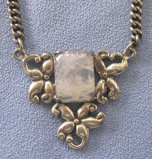 Sterling Rutilated Quartz Flowery Necklace