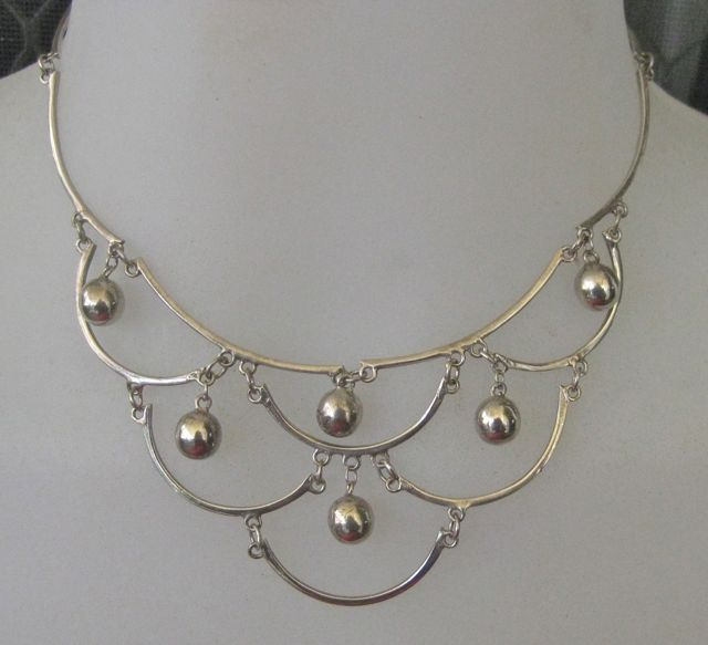 Mexican Sterling Dangling Bib Necklace