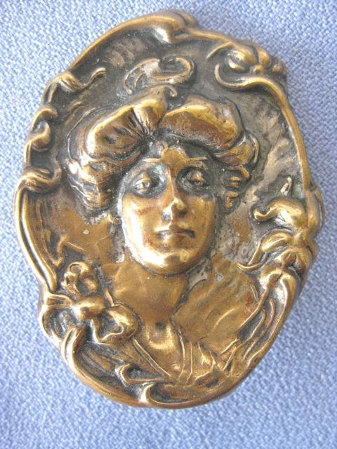 Art Nouveau Repousse Figural Pin