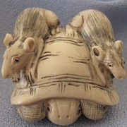 Carved Oxbone NETSUKE - Rats and Tortoise - Signed