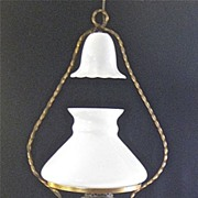 Antique FRENCH Hanging Milk Glass Oil Lamp - Electrified