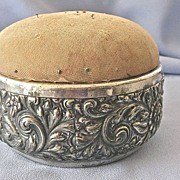 SALE LARGE Antique Silver Derby Pin Cushion/Sewing Box