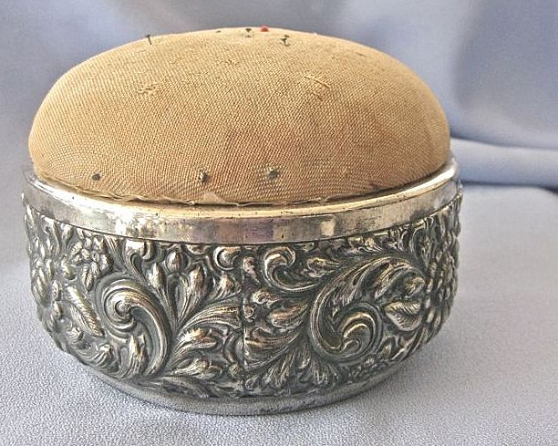 LARGE Antique Silver Derby Pin Cushion/Sewing Box