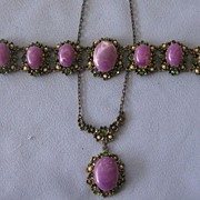Chunky Vintage PURPLE Glass Necklace and Bracelet